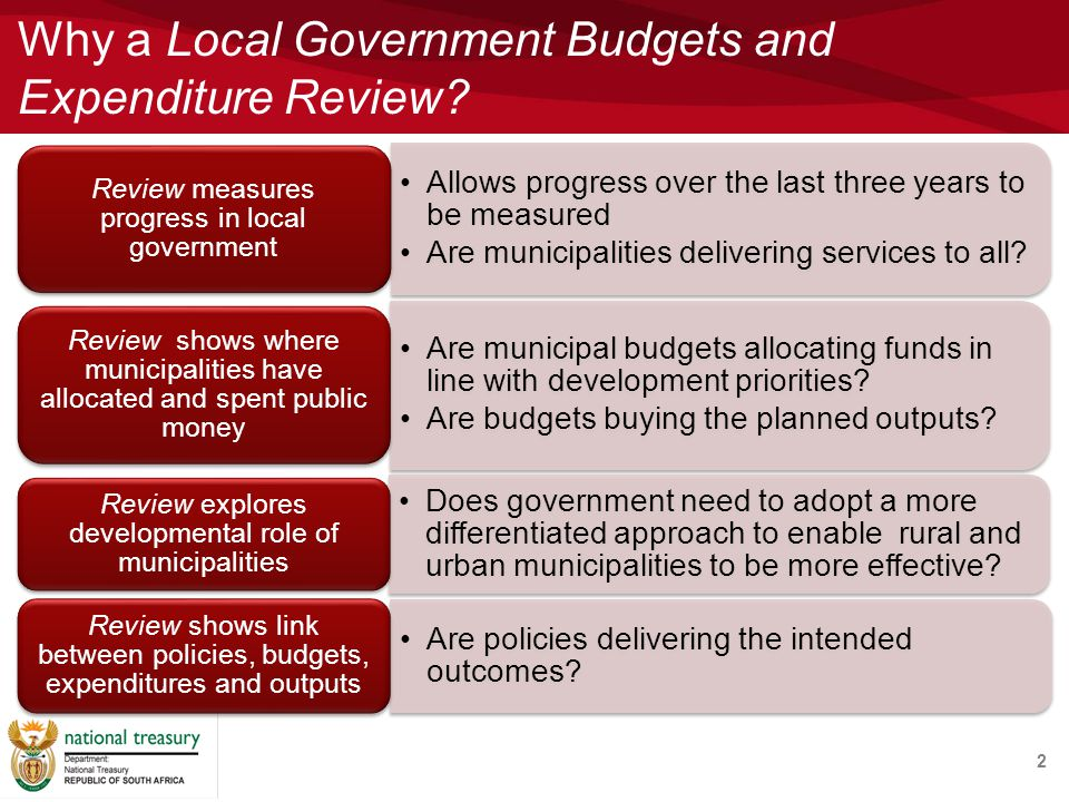 Why a Local Government Budgets and Expenditure Review 2