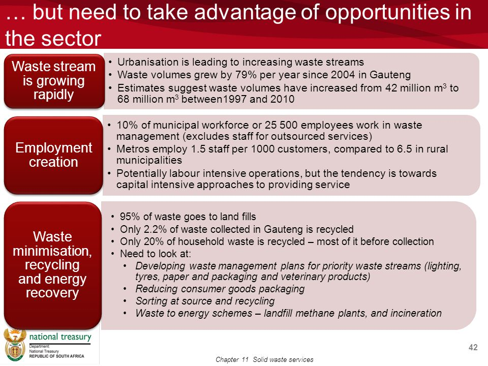 … but need to take advantage of opportunities in the sector 42 Chapter 11 Solid waste services