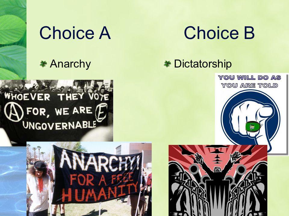 Choice AChoice B AnarchyDictatorship