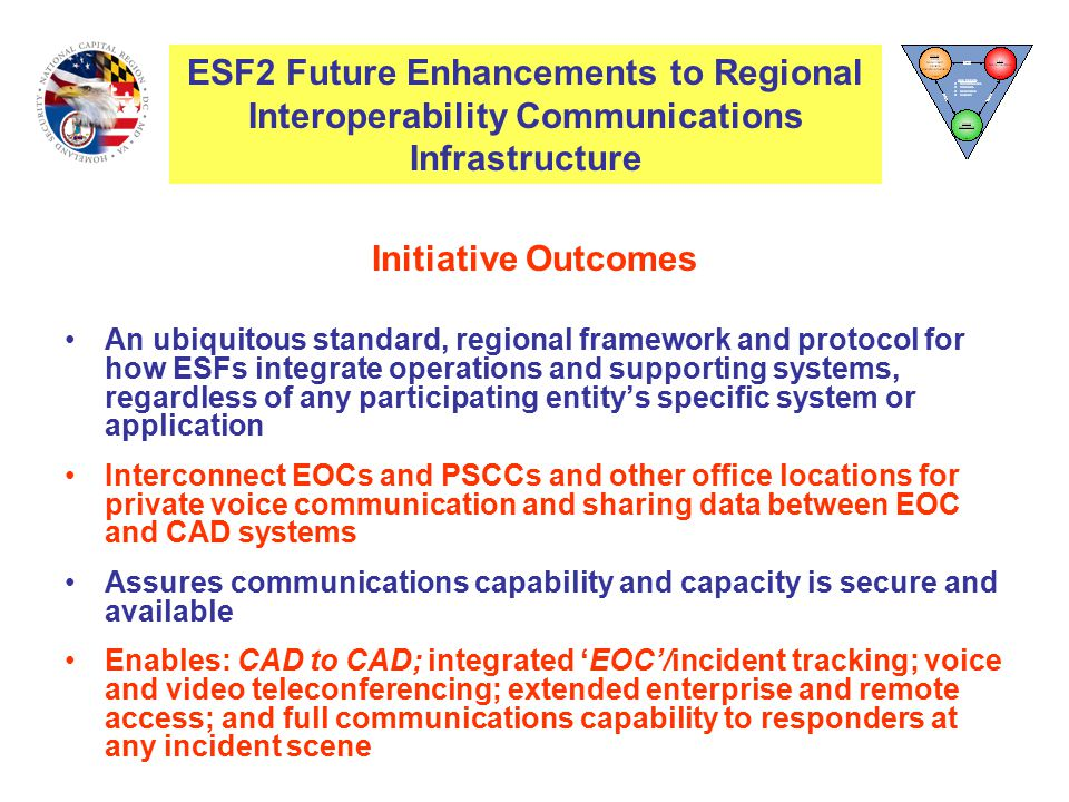 Initiative Outcomes An ubiquitous standard, regional framework and protocol for how ESFs integrate operations and supporting systems, regardless of any participating entity's specific system or application Interconnect EOCs and PSCCs and other office locations for private voice communication and sharing data between EOC and CAD systems Assures communications capability and capacity is secure and available Enables: CAD to CAD; integrated 'EOC'/incident tracking; voice and video teleconferencing; extended enterprise and remote access; and full communications capability to responders at any incident scene ESF2 Interoperability Communications Infrastructure ESF2 Future Enhancements to Regional Interoperability Communications Infrastructure