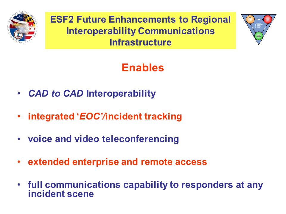 Enables CAD to CAD Interoperability integrated 'EOC'/incident tracking voice and video teleconferencing extended enterprise and remote access full communications capability to responders at any incident scene ESF2 Interoperability Communications Infrastructure ESF2 Future Enhancements to Regional Interoperability Communications Infrastructure