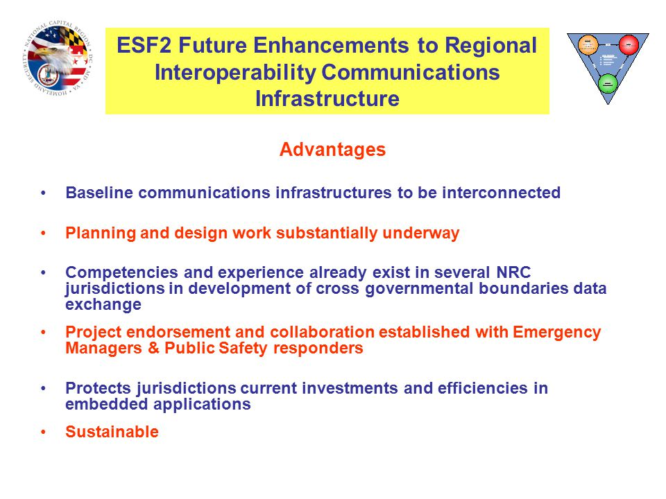 Advantages Baseline communications infrastructures to be interconnected Planning and design work substantially underway Competencies and experience already exist in several NRC jurisdictions in development of cross governmental boundaries data exchange Project endorsement and collaboration established with Emergency Managers & Public Safety responders Protects jurisdictions current investments and efficiencies in embedded applications Sustainable ESF2 Interoperability Communications Infrastructure ESF2 Future Enhancements to Regional Interoperability Communications Infrastructure