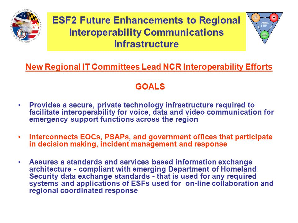 New Regional IT Committees Lead NCR Interoperability Efforts GOALS Provides a secure, private technology infrastructure required to facilitate interoperability for voice, data and video communication for emergency support functions across the region Interconnects EOCs, PSAPs, and government offices that participate in decision making, incident management and response Assures a standards and services based information exchange architecture - compliant with emerging Department of Homeland Security data exchange standards - that is used for any required systems and applications of ESFs used for on-line collaboration and regional coordinated response ESF2 Future Enhancements to Regional Interoperability Communications Infrastructure