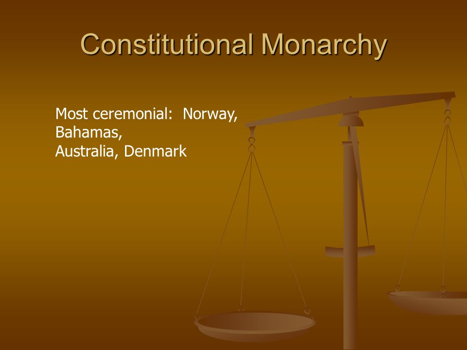 Constitutional Monarchy Most ceremonial: Norway, Bahamas, Australia, Denmark