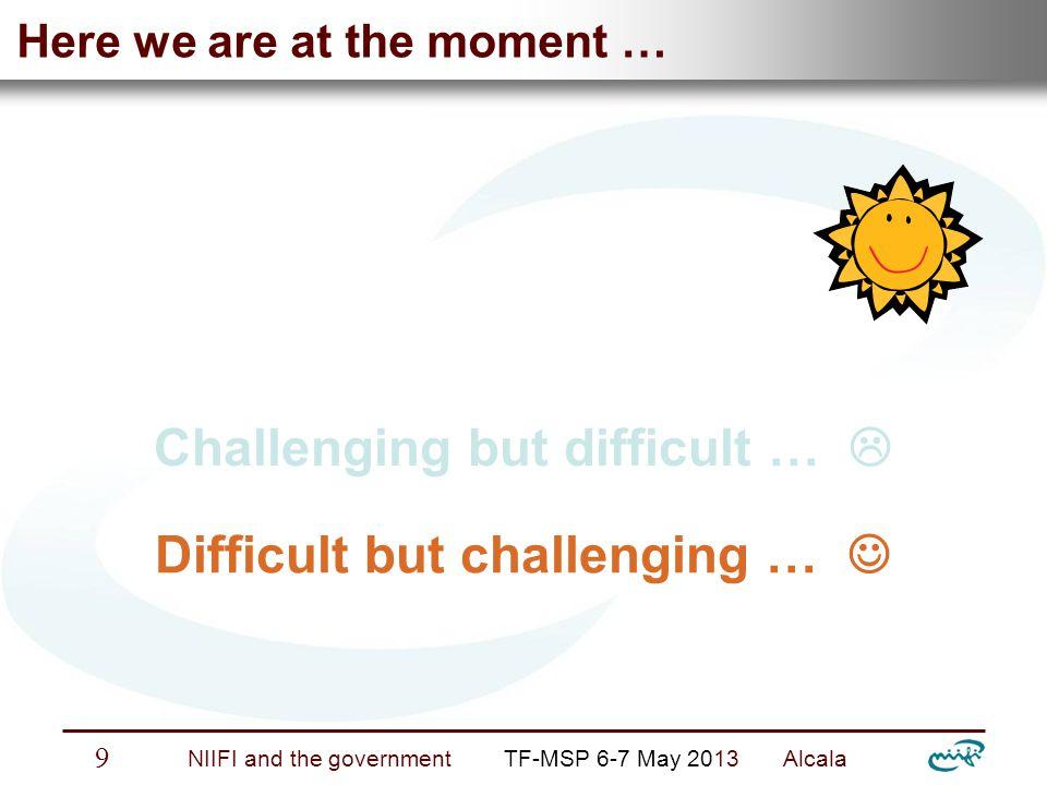 Nemzeti Információs Infrastruktúra Fejlesztési Intézet NIIFI and the government TF-MSP 6-7 May 2013 Alcala 9 Here we are at the moment … Challenging but difficult …  Difficult but challenging …