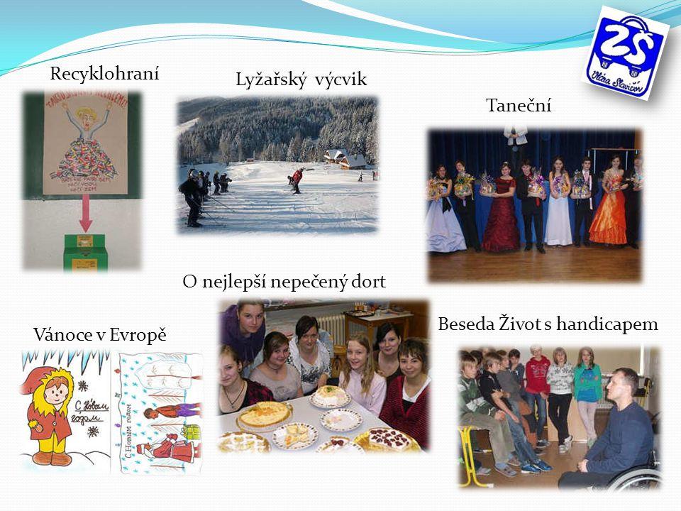 O nejlepší nepečený dort Beseda Život s handicapem Recyklohraní Lyžařský výcvik Vánoce v Evropě Taneční