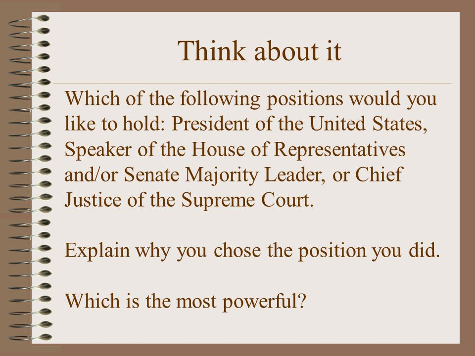 Which of the following positions would you like to hold: President of the United States, Speaker of the House of Representatives and/or Senate Majorit