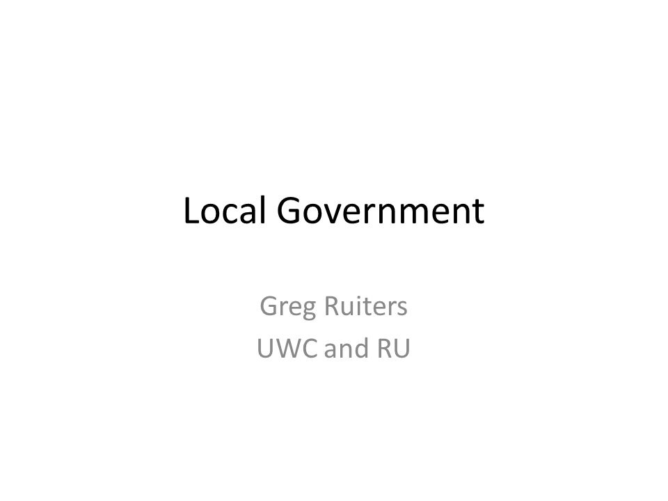 Local Government Greg Ruiters UWC and RU