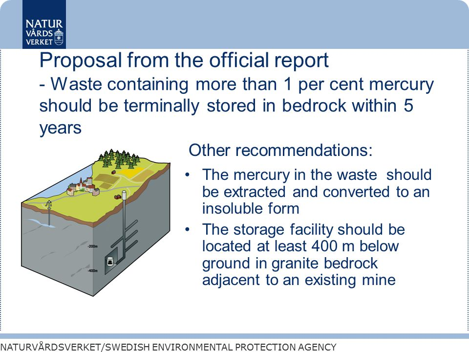 NATURVÅRDSVERKET/SWEDISH ENVIRONMENTAL PROTECTION AGENCY Proposal from the official report - Waste containing more than 1 per cent mercury should be terminally stored in bedrock within 5 years The mercury in the waste should be extracted and converted to an insoluble form The storage facility should be located at least 400 m below ground in granite bedrock adjacent to an existing mine Other recommendations: