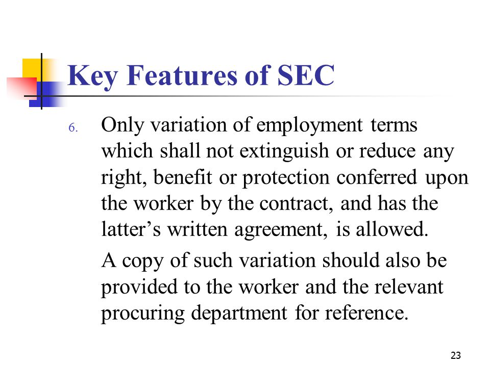 23 Key Features of SEC 6.