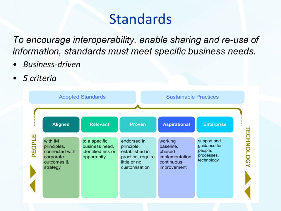 Standards To encourage interoperability, enable sharing and re-use of information, standards must meet specific business needs. Business-driven 5 crit