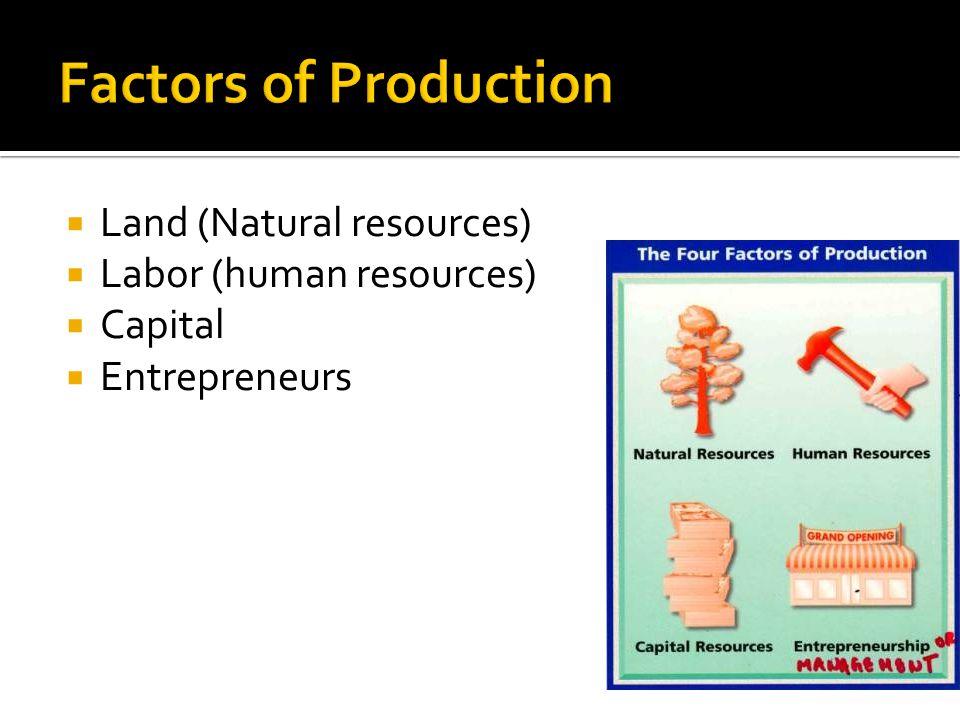  Land (Natural resources)  Labor (human resources)  Capital  Entrepreneurs