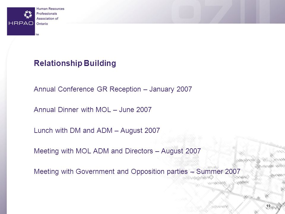 19 Relationship Building Annual Conference GR Reception – January 2007 Annual Dinner with MOL – June 2007 Lunch with DM and ADM – August 2007 Meeting with MOL ADM and Directors – August 2007 Meeting with Government and Opposition parties – Summer 2007