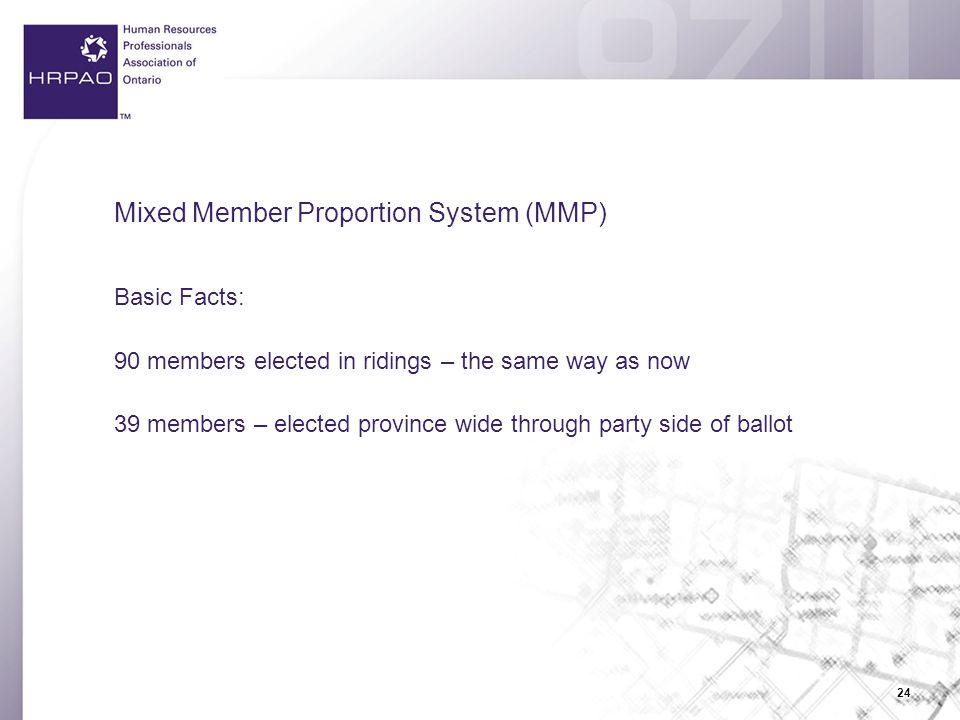 24 Mixed Member Proportion System (MMP) Basic Facts: 90 members elected in ridings – the same way as now 39 members – elected province wide through party side of ballot