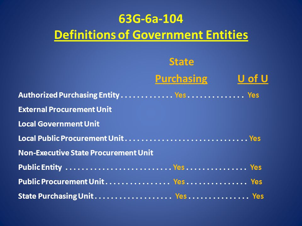 63G-6a-104 Definitions of Government Entities State Purchasing U of U Authorized Purchasing Entity.............