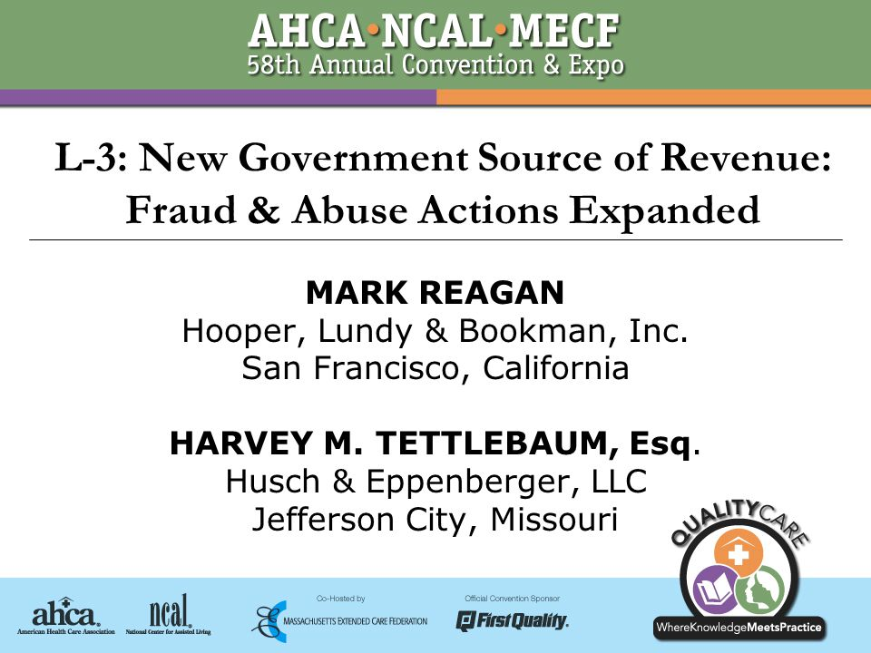 © 2007 Husch & Eppenberger, LLC1 L-3: New Government Source of Revenue: Fraud & Abuse Actions Expanded MARK REAGAN Hooper, Lundy & Bookman, Inc.