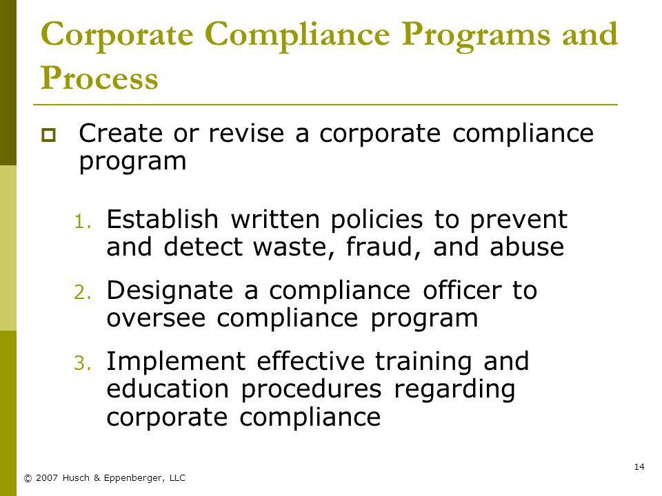 © 2007 Husch & Eppenberger, LLC 14 Corporate Compliance Programs and Process  Create or revise a corporate compliance program 1.