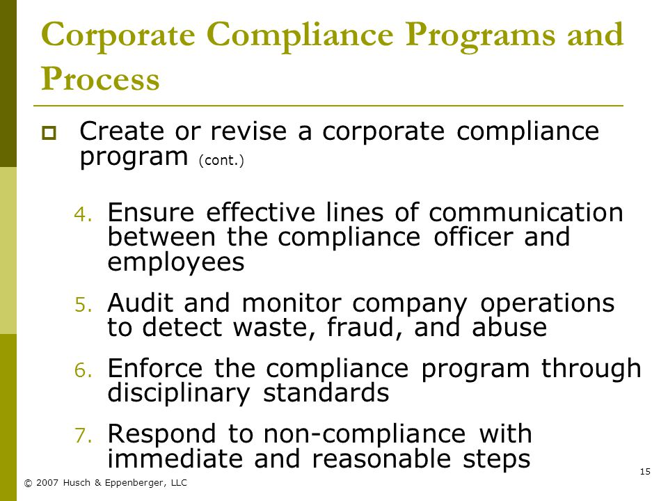 © 2007 Husch & Eppenberger, LLC 15 Corporate Compliance Programs and Process  Create or revise a corporate compliance program (cont.) 4.