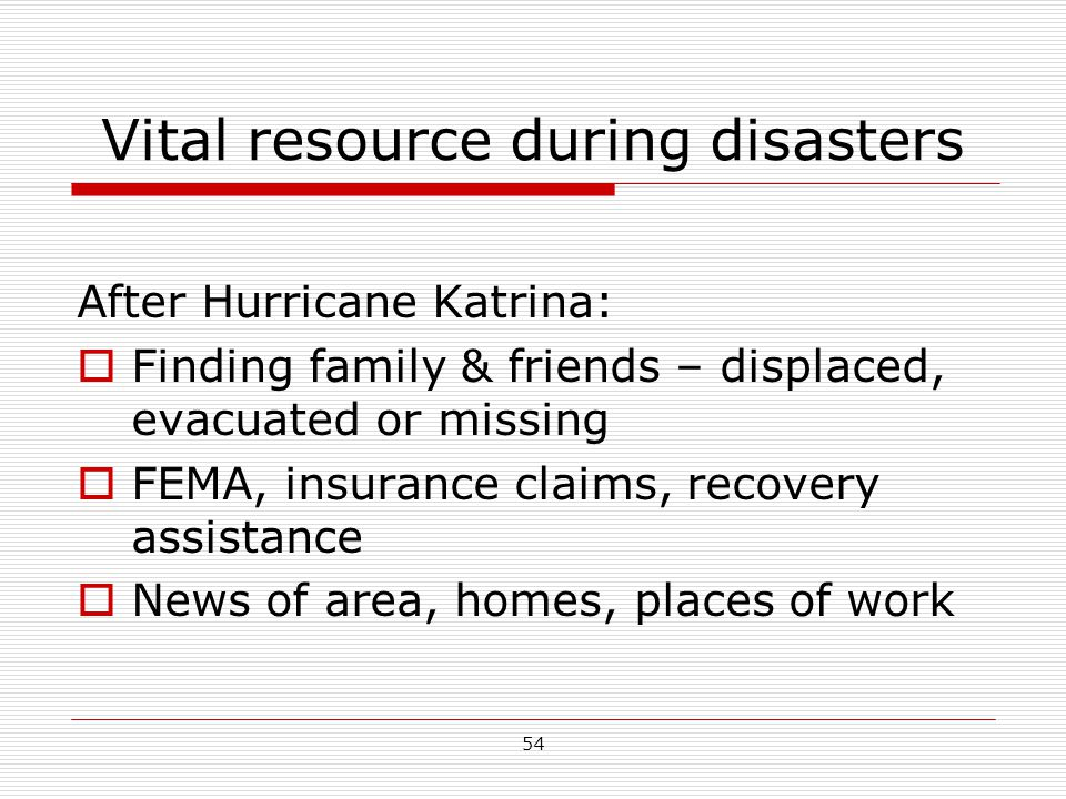 Vital resource during disasters After Hurricane Katrina:  Finding family & friends – displaced, evacuated or missing  FEMA, insurance claims, recove