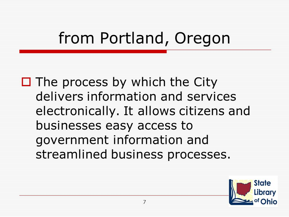 Public Libraries Reality – E-government is an unfunded mandate for public libraries  Government services, resources, information more digital  Agencies rely on residents to access services online  Decrease in funding – increase in demand 48