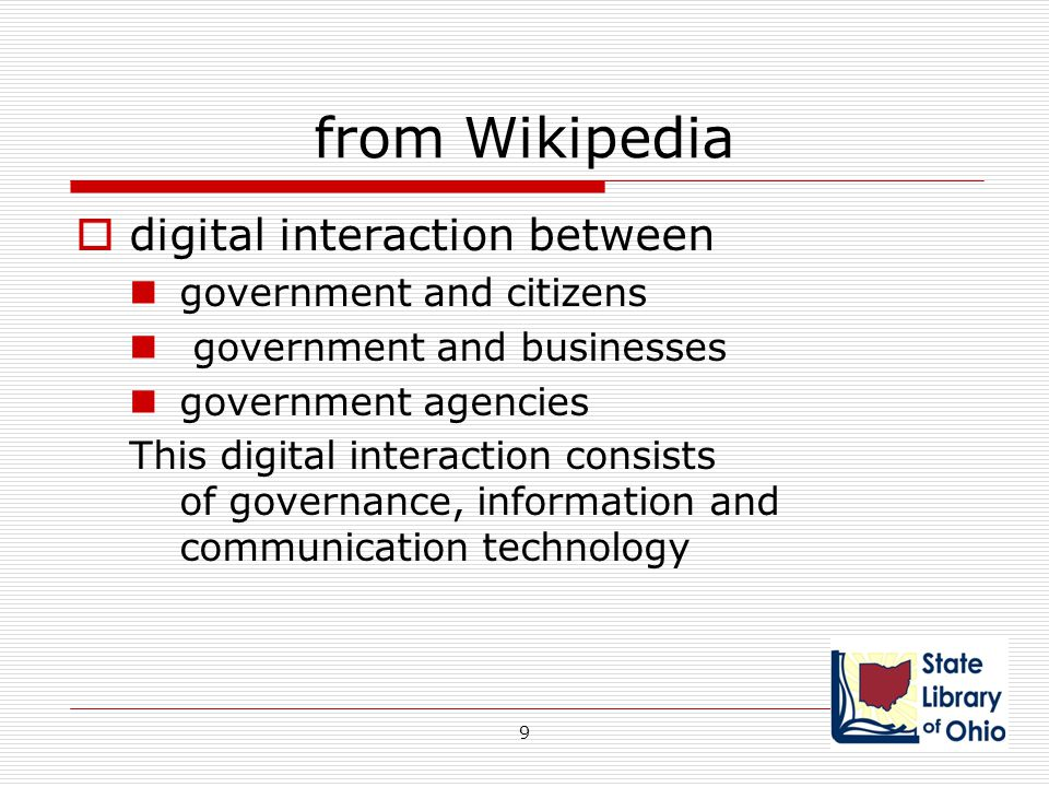 from Wikipedia  digital interaction between government and citizens government and businesses government agencies This digital interaction consists o