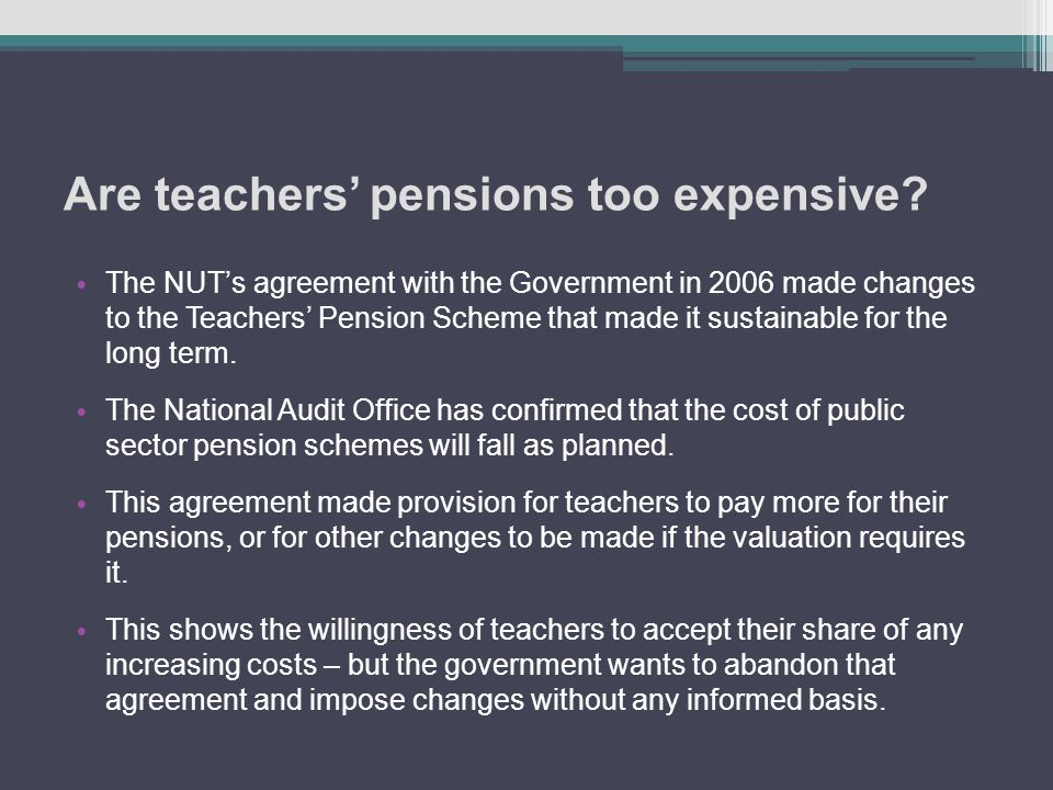 Are teachers' pensions too expensive.