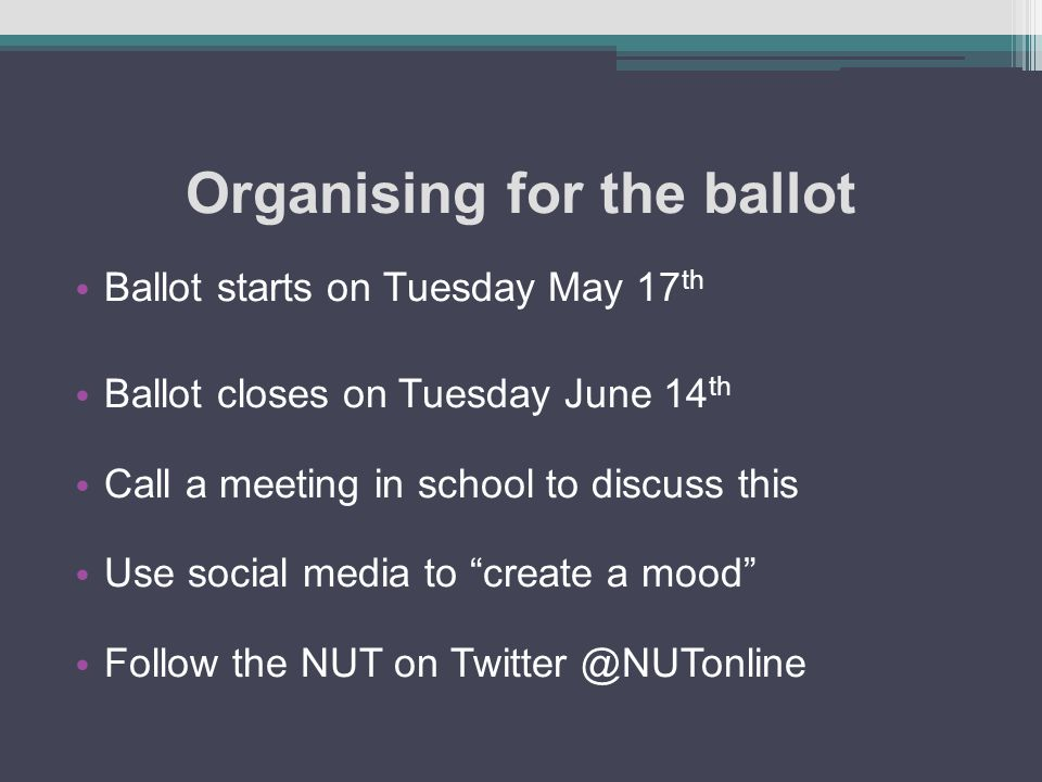 Organising for the ballot Ballot starts on Tuesday May 17 th Ballot closes on Tuesday June 14 th Call a meeting in school to discuss this Use social m