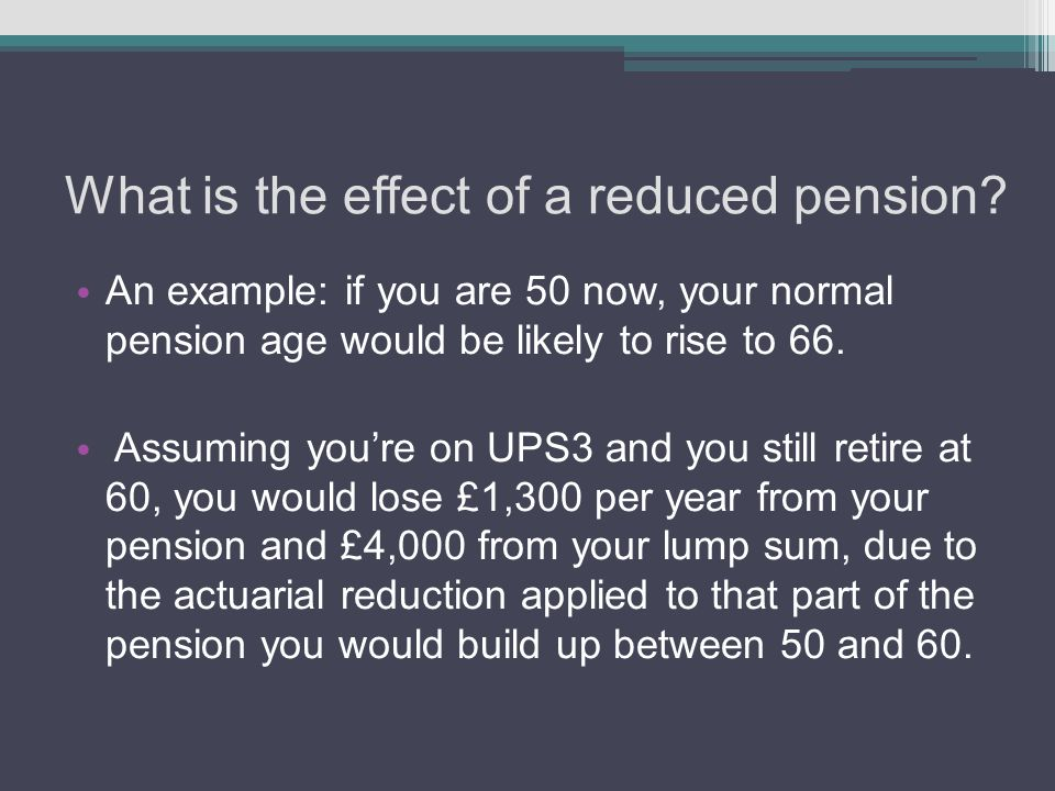 What is the effect of a reduced pension.