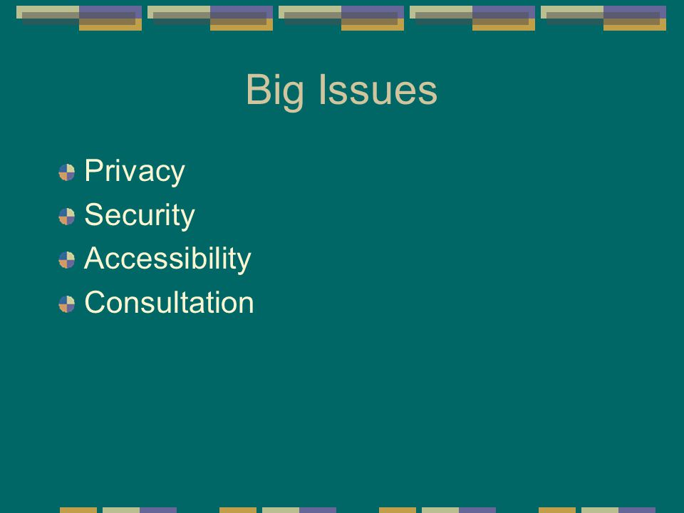 Big Issues Privacy Security Accessibility Consultation