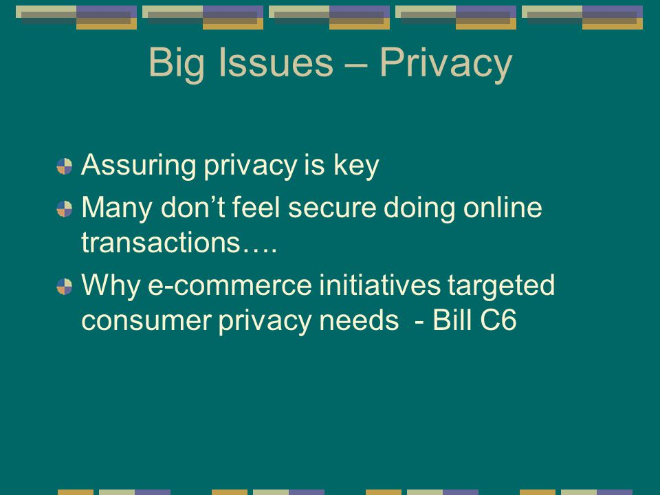 Big Issues – Privacy Assuring privacy is key Many don't feel secure doing online transactions…. Why e-commerce initiatives targeted consumer privacy n