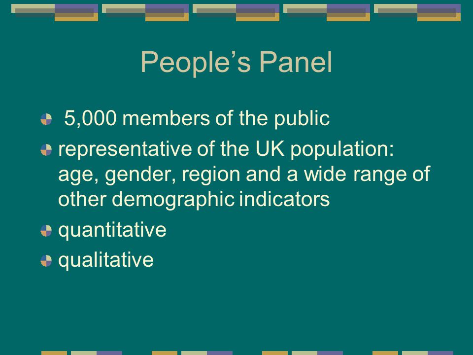 People's Panel 5,000 members of the public representative of the UK population: age, gender, region and a wide range of other demographic indicators quantitative qualitative
