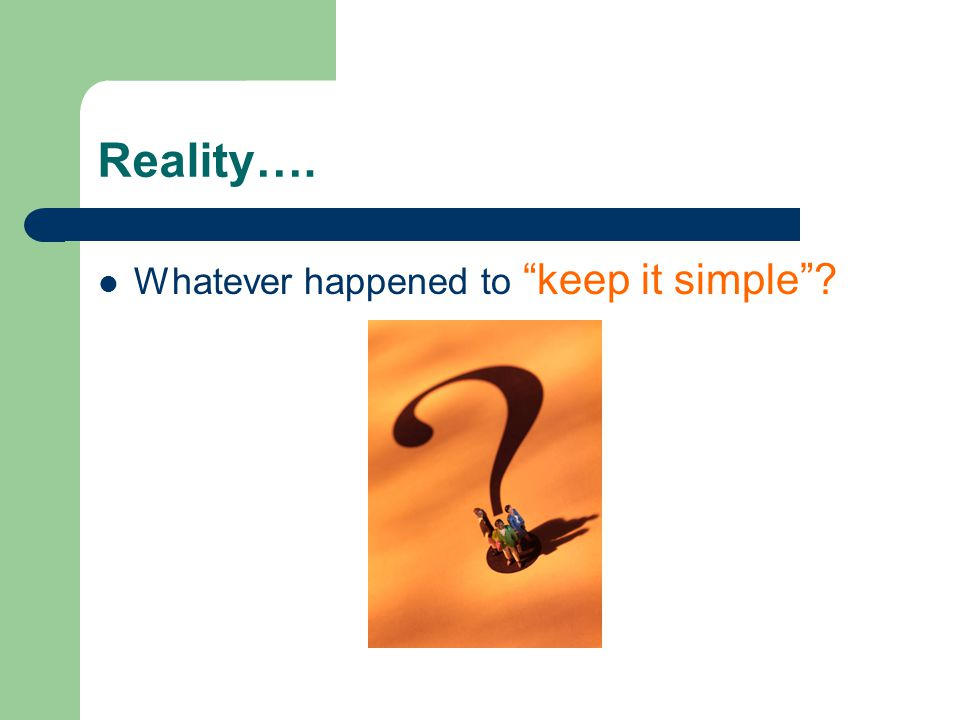 Reality…. Whatever happened to keep it simple
