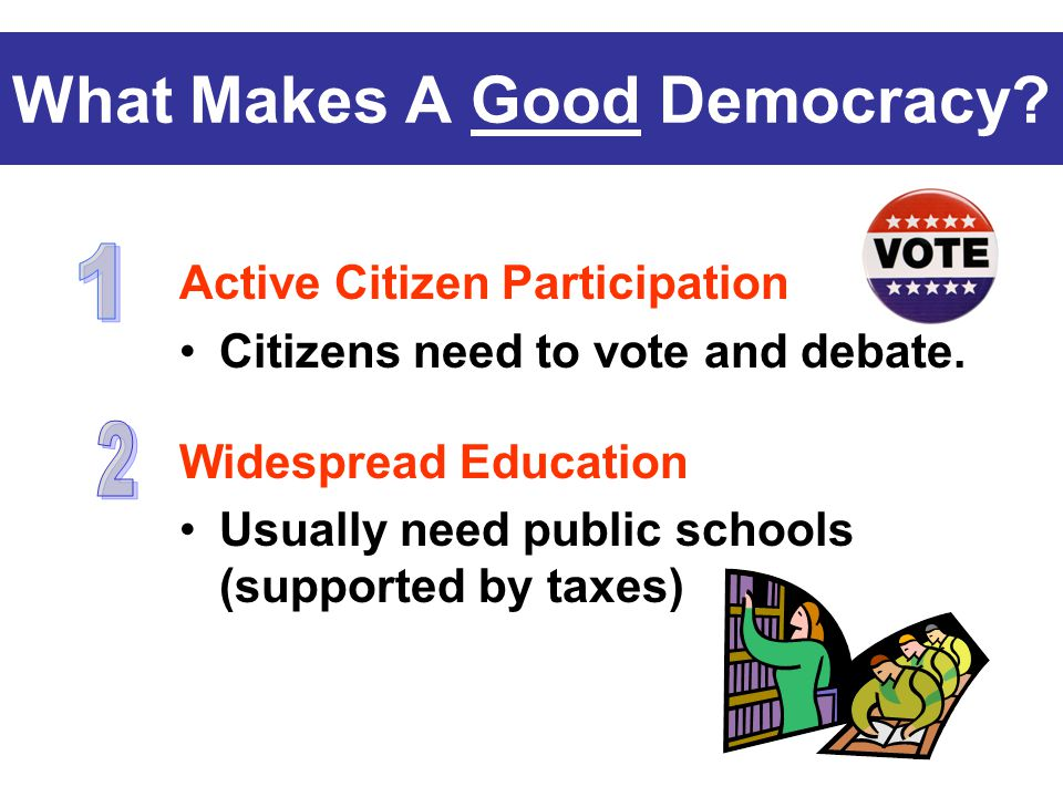What Makes A Good Democracy? Active Citizen Participation Citizens need to vote and debate. Widespread Education Usually need public schools (supporte