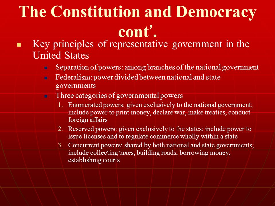 The Constitution and Democracy cont '. Key principles of representative government in the United States Separation of powers: among branches of the na