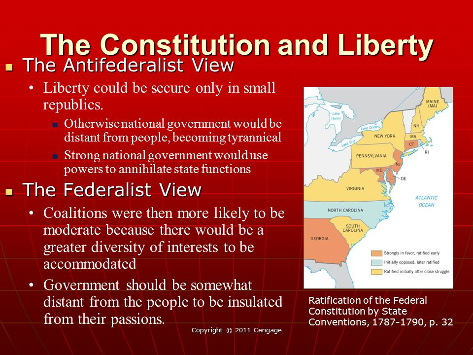 Copyright © 2011 Cengage The Antifederalist View The Antifederalist View Liberty could be secure only in small republics. Otherwise national governmen
