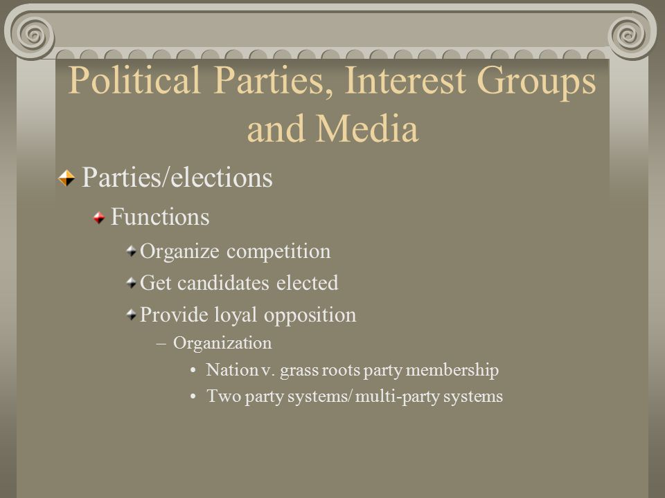 Political Parties, Interest Groups and Media Parties/elections Functions Organize competition Get candidates elected Provide loyal opposition –Organization Nation v.
