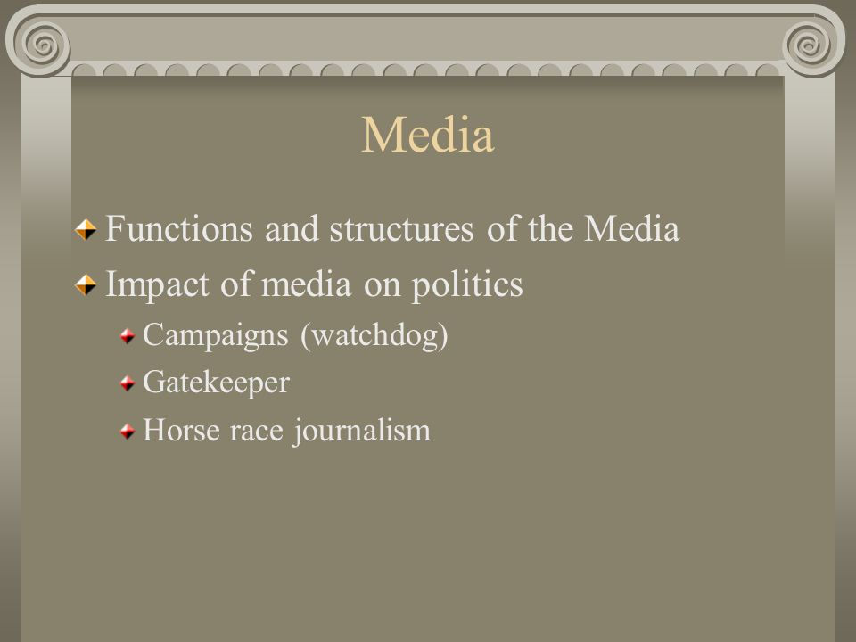 Media Functions and structures of the Media Impact of media on politics Campaigns (watchdog) Gatekeeper Horse race journalism