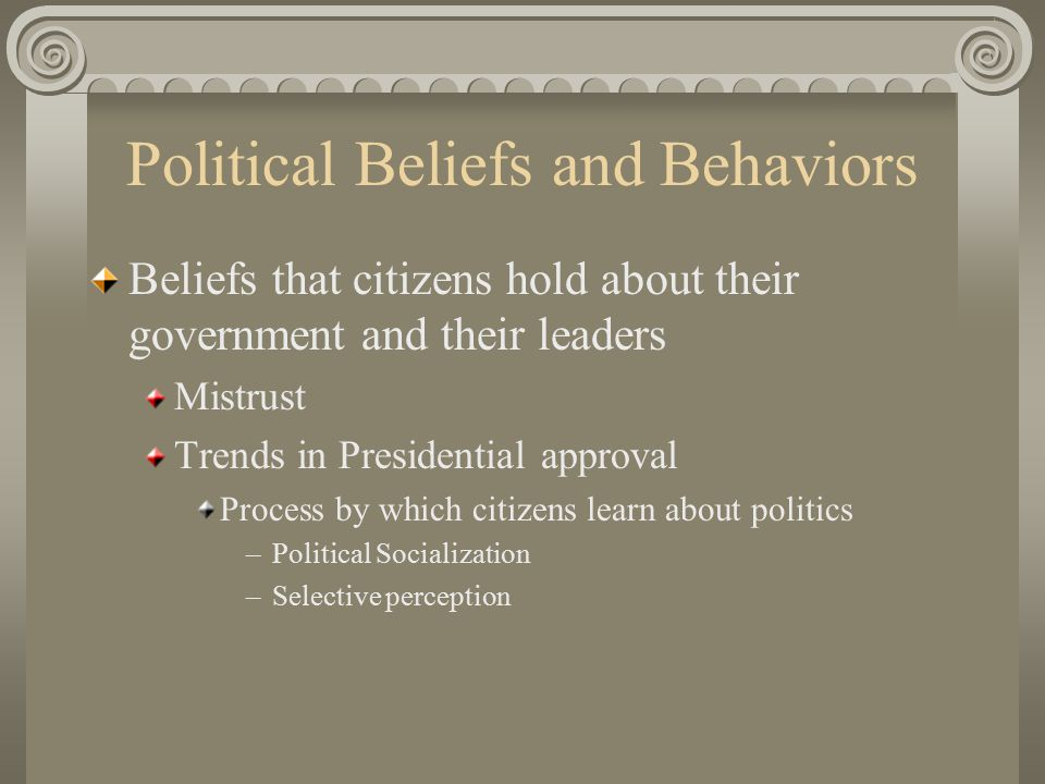 Political Beliefs and Behaviors Beliefs that citizens hold about their government and their leaders Mistrust Trends in Presidential approval Process by which citizens learn about politics –Political Socialization –Selective perception