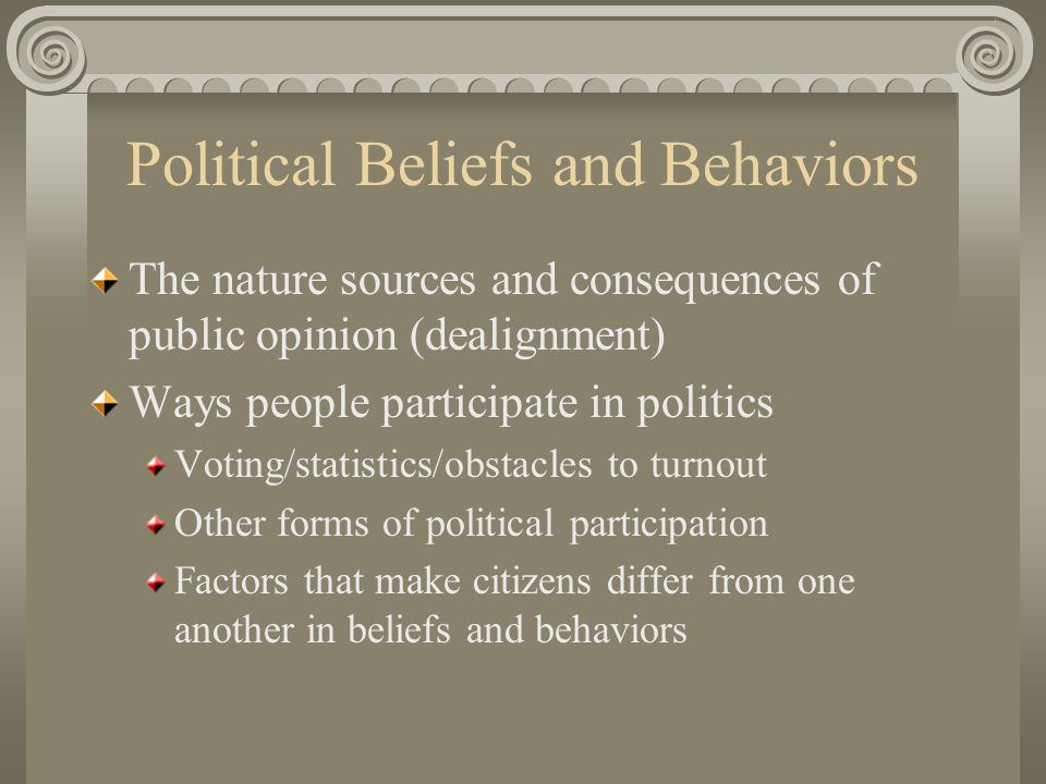Political Beliefs and Behaviors The nature sources and consequences of public opinion (dealignment) Ways people participate in politics Voting/statistics/obstacles to turnout Other forms of political participation Factors that make citizens differ from one another in beliefs and behaviors