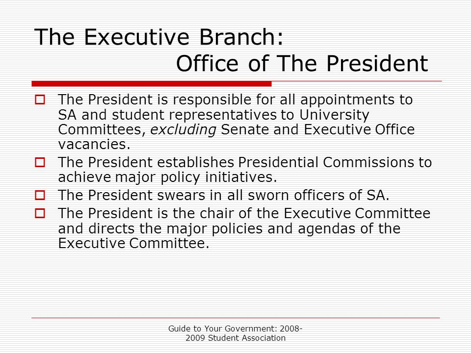 Guide to Your Government: 2008- 2009 Student Association The Executive Branch: Office of The President  The President is responsible for all appointments to SA and student representatives to University Committees, excluding Senate and Executive Office vacancies.