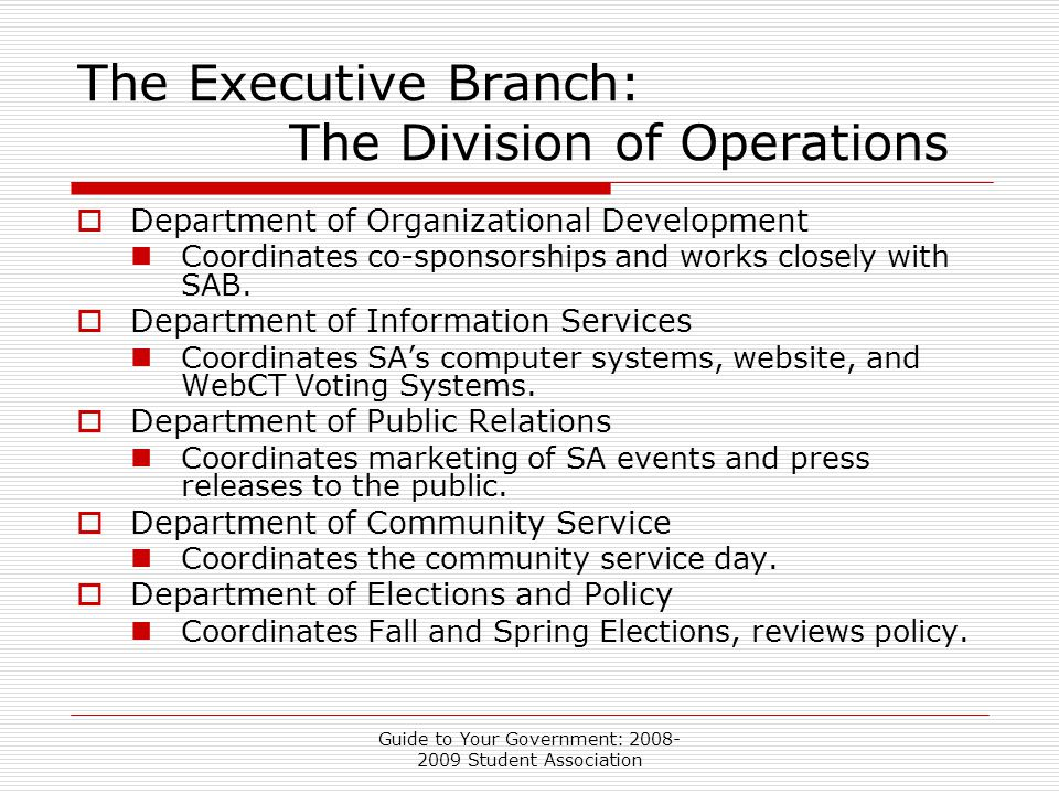 Guide to Your Government: 2008- 2009 Student Association The Executive Branch: The Division of Operations  Department of Organizational Development Coordinates co-sponsorships and works closely with SAB.