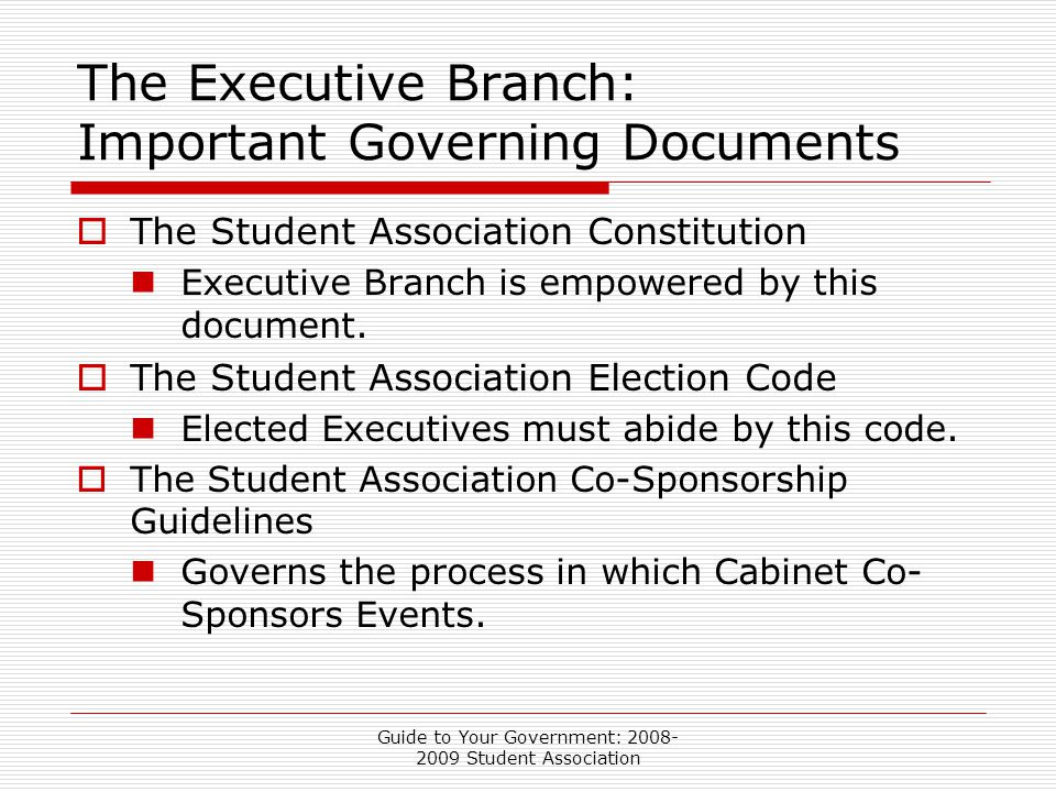 Guide to Your Government: 2008- 2009 Student Association The Executive Branch: Important Governing Documents  The Student Association Constitution Executive Branch is empowered by this document.