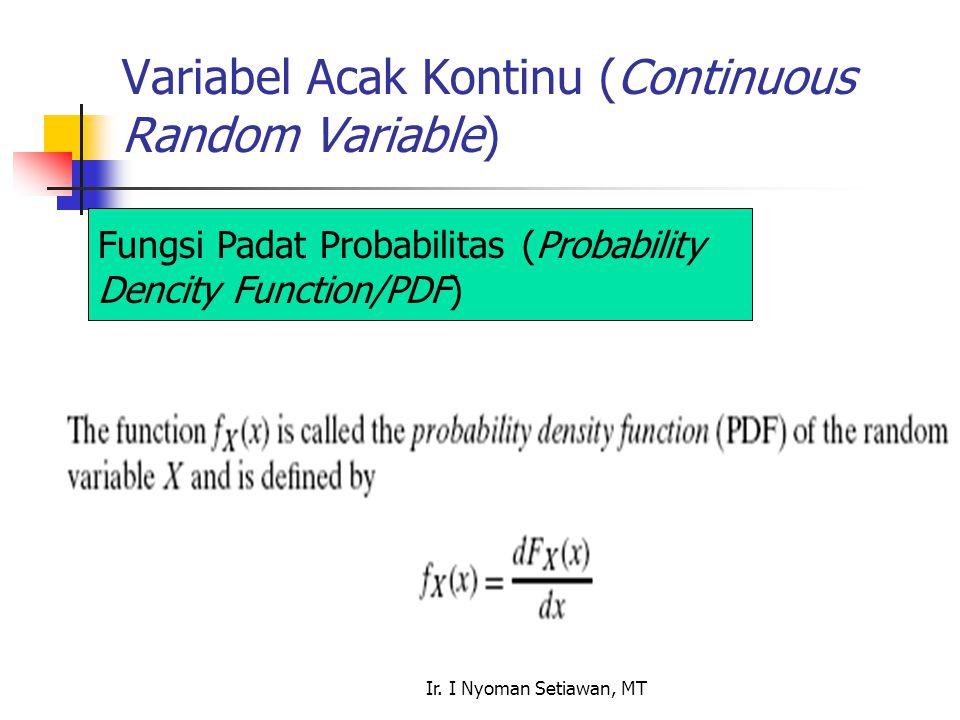 Ir. I Nyoman Setiawan, MT Variabel Acak Kontinu (Continuous Random Variable) Fungsi Padat Probabilitas (Probability Dencity Function/PDF)