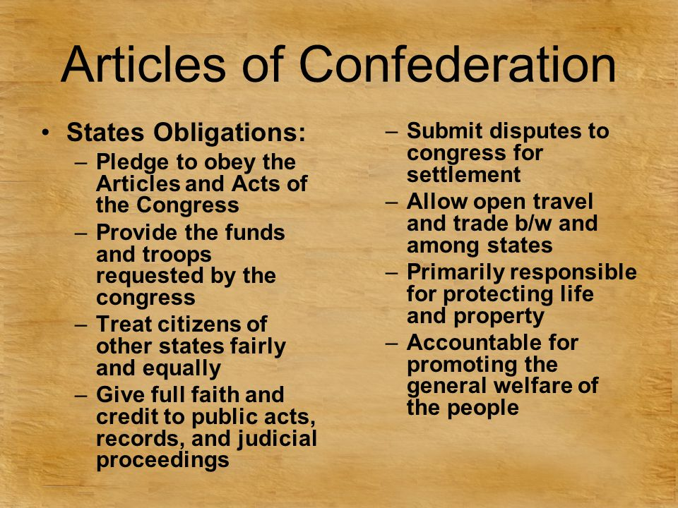 Articles of Confederation States Obligations: –Pledge to obey the Articles and Acts of the Congress –Provide the funds and troops requested by the con