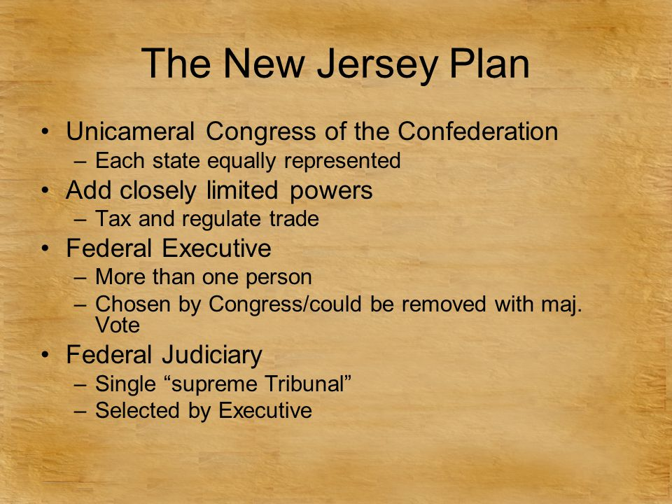 The New Jersey Plan Unicameral Congress of the Confederation –Each state equally represented Add closely limited powers –Tax and regulate trade Federa