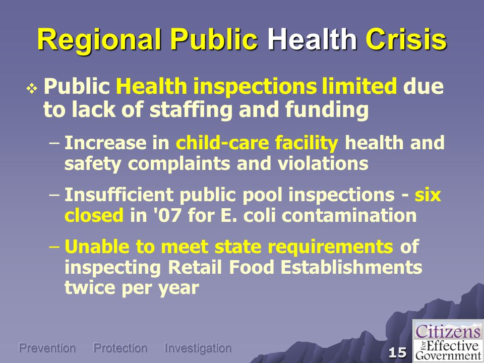 15  Public Health inspections limited due to lack of staffing and funding –Increase in child-care facility health and safety complaints and violations –Insufficient public pool inspections - six closed in 07 for E.