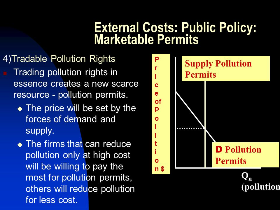External Costs: Public Policy: Marketable Permits 4)Tradable Pollution Rights Trading pollution rights in essence creates a new scarce resource - poll