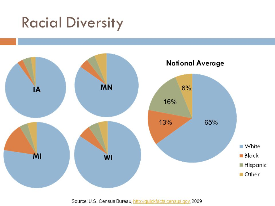 Racial Diversity Source: U.S. Census Bureau, http://quickfacts.census.gov, 2009http://quickfacts.census.gov 65%13% 16% 6%