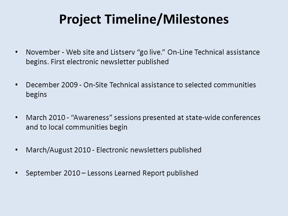 Project Timeline/Milestones November - Web site and Listserv go live. On-Line Technical assistance begins.