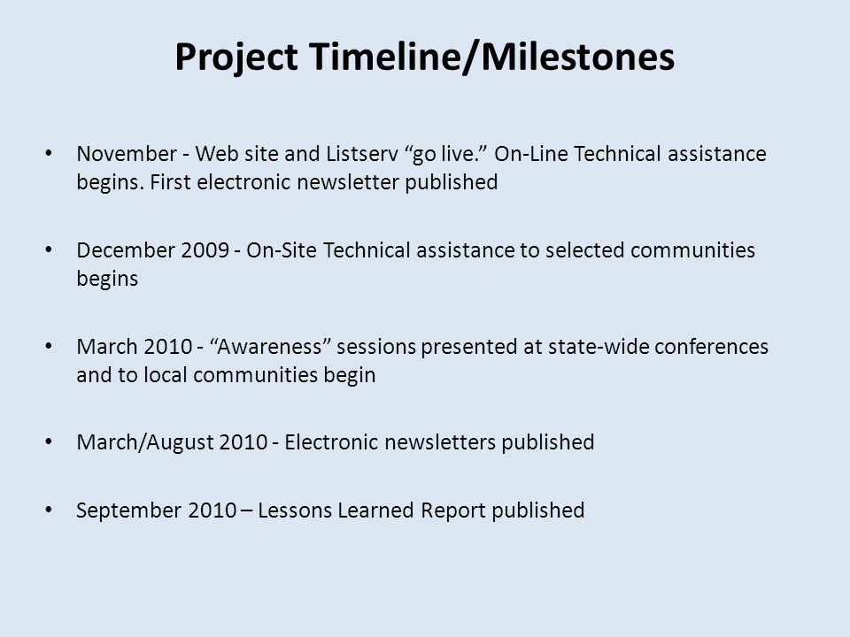 "Project Timeline/Milestones November - Web site and Listserv ""go live."" On-Line Technical assistance begins. First electronic newsletter published Dec"
